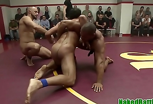 Muscular jock gets cocksucked during battle