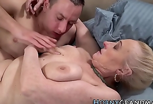 Horny gilf gets creampied