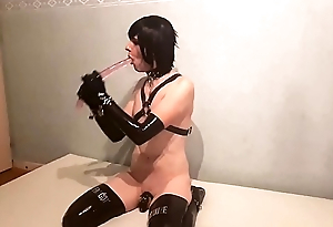 SeleneTV - Latex sissy faggot in chastity deepthroat 45cm dildo