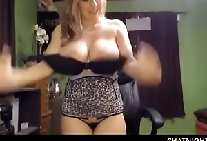 Amazing blonde mommy with huge see-through tits sucking dildo and spraying milk for strangers pleasure on video chat
