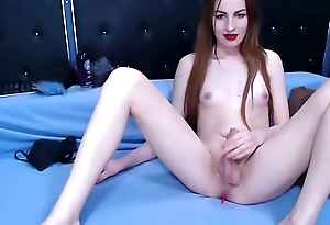 Ginger Transsexual Bombshell Stroking Her Small Dick