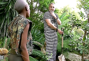 Disastrous African miitary girl fucked in the ass by her prisonner