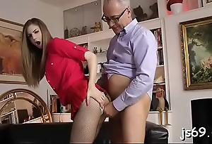 Slutty gentlemen fucking her in the mouth and in the pussy