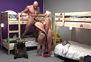 Fake Hostel Petite backbacker babe fucks an absolute unit in threesome