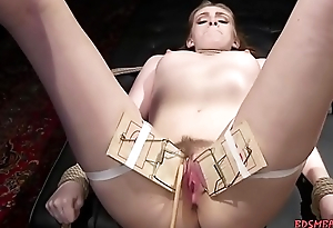 Attractive gal got fingered in lesbian BDSM porn