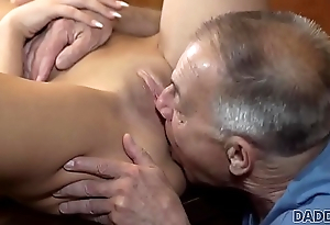 DADDY4K. Old man with boner penetrates attractive girl made-to-order table