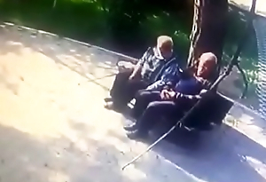 Old men alfresco kissing gay to gay