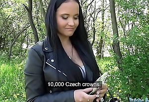 Public Agent Sticky facial for busty hot Czech teen farther down than railway bridge