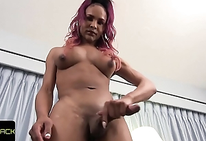 Bigtitted solo tranny wanking huge black cock