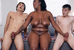 Ebony Milf Layton Benton gives a double handjob to Jordi El Nino Polla and Ricky Spanish -2