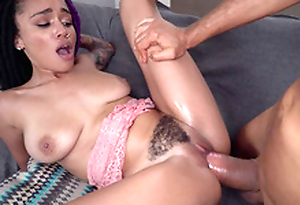 Natural busty Julie Kay gets her trimmed pussy plowed