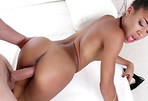 18 yo petite black girl Kendall Woods takes it doggie