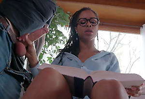 Teen Kira Noir jerks her boyfriends cock while trying less study