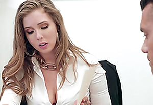 Buxom blonde secretary Lena Paul gets cum on huge Bristols at the office