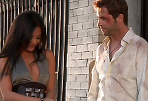 Gorgeous Kaylani Lei gets her vulva munched and fucked rear end style