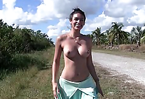 Latina Milf Porn star Katana Kombat gets fucked outside on the road