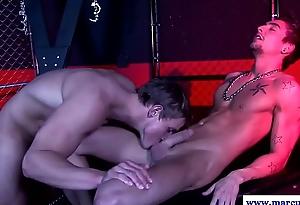 Bonded hunk cocksucked coupled with submitted to anal