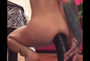Goth Teen Fucks Huge Inflatable Dildo Up Her Ass