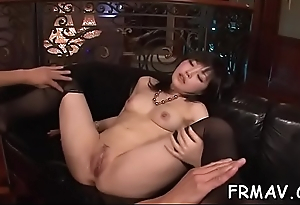 Japanese temptress delights with ultra-wet oral awe